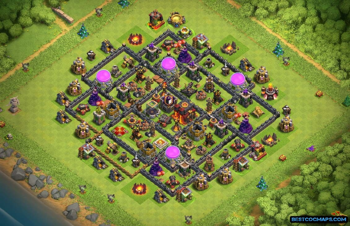 th10 farming base with bomb tower