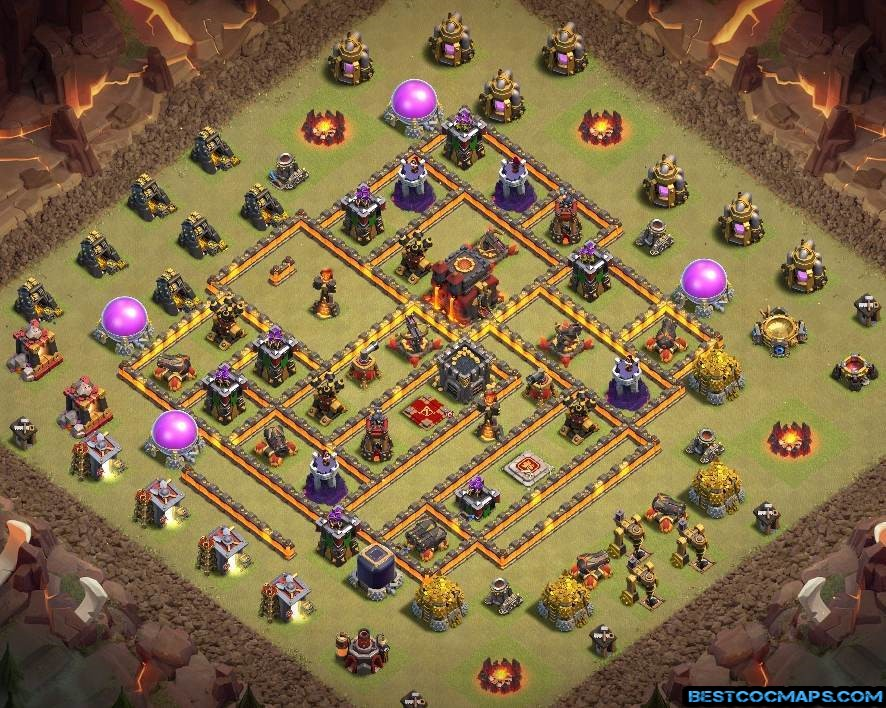 coc th10 war base with link