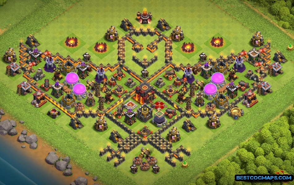 th10 hybrid base with tower bases