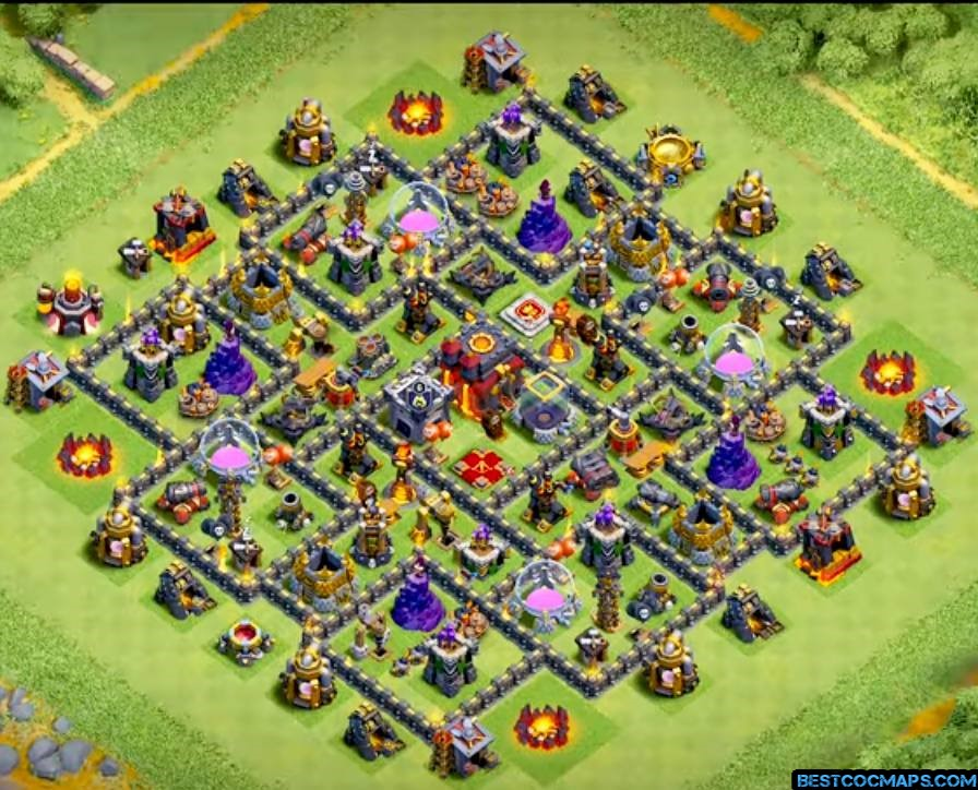 coc th10 base anti 2 stars
