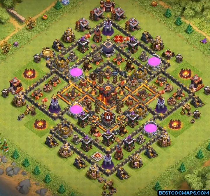 clash of clans th10 hybrid base layout