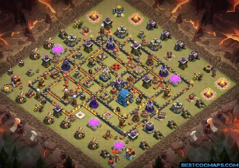 coc th12 war base anti 3 stars