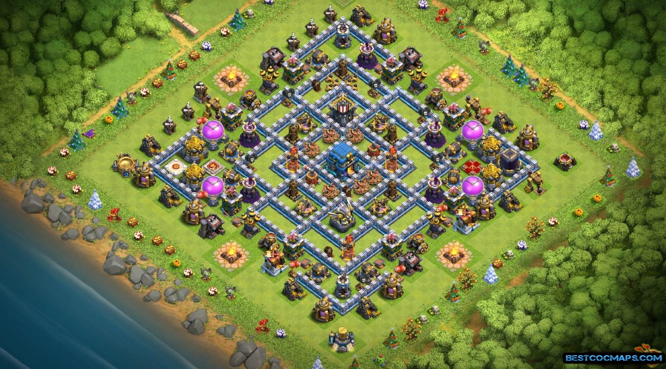 clash of clans th12 trophy layout link