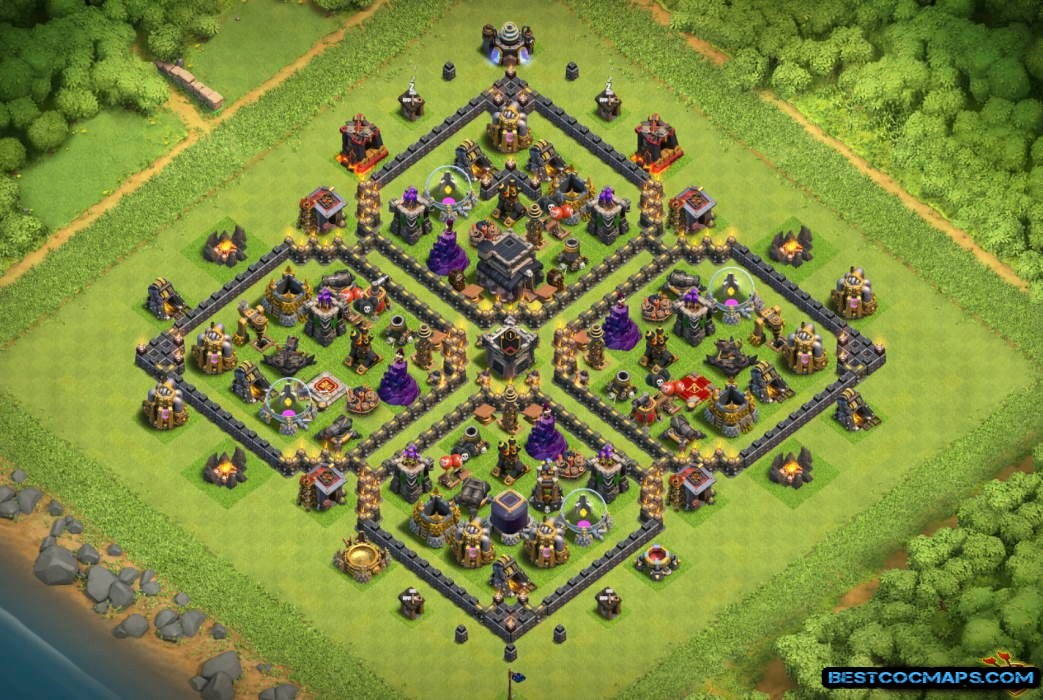 clash of clans th9 hybrid base link