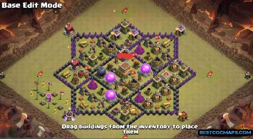 clash of clans th8 hybrid base