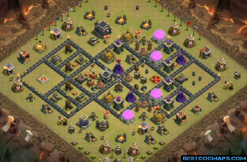 th9 war base with bomb tower