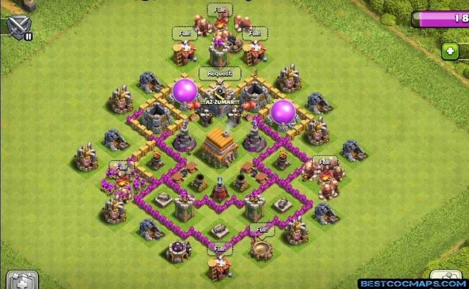 coc th6 trophy base layout