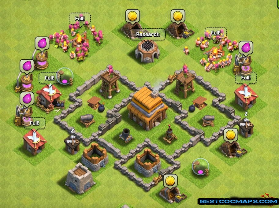 town hall 4 trophy base