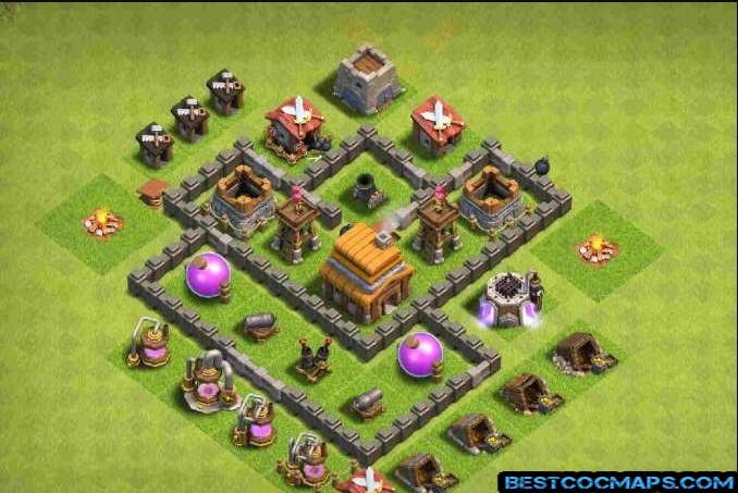 coc th4 trophy base