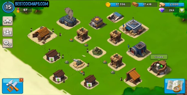 boom beach hq5 base layout